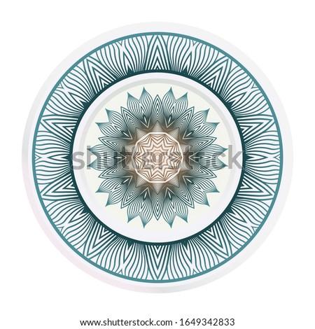 matching decorative plates. Decorative mandala ornament for wall design.  illustration.