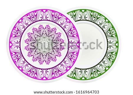 matching decorative plates. Decorative mandala ornament.  illustration. for interior design, circle medalion, colorful kitchen.