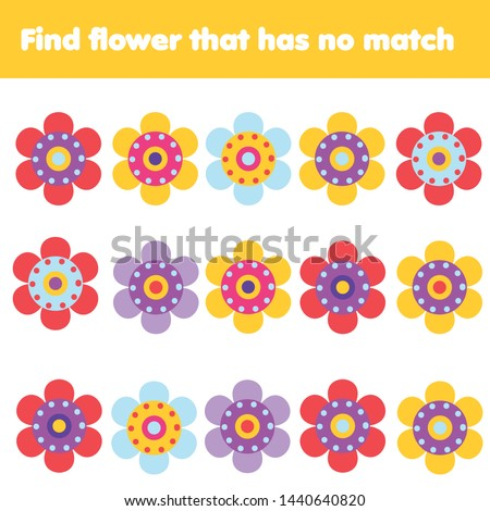 Matching game. Educational children activity. Find flower with no match. Learning activity for pre scholl years kids and toddlers #1440640820