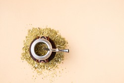 mate drink top view on beige background
