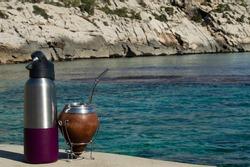 Mate on the beach- mediterranean Mate- transparent water