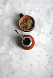 Mate tea. Bombilla and Oscillation. On gray plaster.