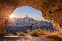 Matera, Italy. Cityscape image of medieval city of Matera, Italy during beautiful summer sunset.