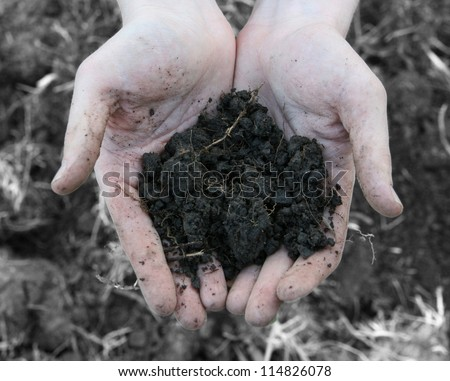 Material for mineral on farmer hand