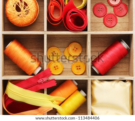 Material for sewing in wooden box closeup