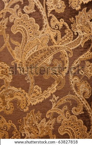 material of brown paisley pattern