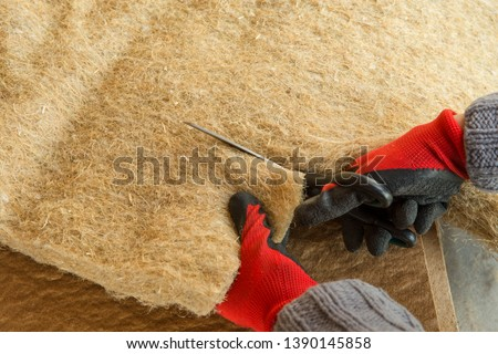 materials background - compressed thermal insulating hemp fiber bonded panels #1390145858