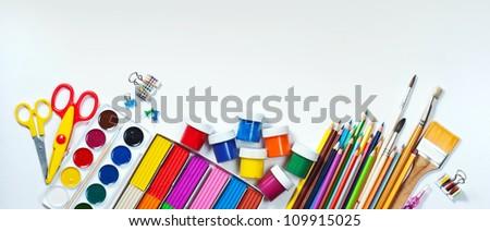 Materials for children's creativity white background