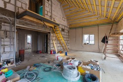 Materials for repairs and tools for remodeling  in the house (building) that is under remodeling, renovation, extension, restoration, reconstruction and construction (upgrade)