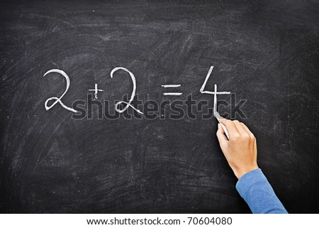 Math chalkboard / blackboard. Hand writing simple mathematical equation. Nice texture.