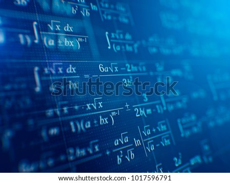 Math concept - Mathematical formulas on blue background. 3d rendering