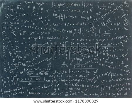 MATH FORMULAE hand-drawn on blackboard