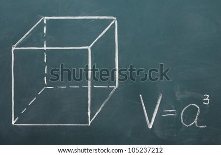 Math formulas written on the desk - stock photo