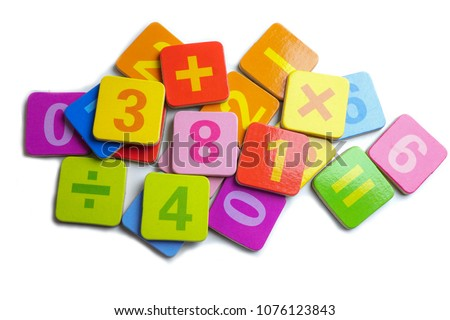 Math Number colorful on white background : Education study mathematic learning teach concept