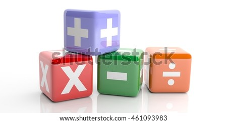 Math or school concept. Colorful cubes with mathematics symbols isolated on white background. 3d illustration