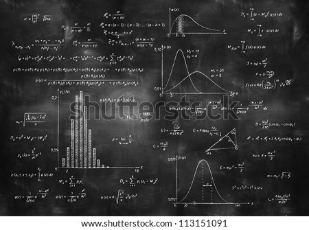 math physics formulas on balck chalkboard
