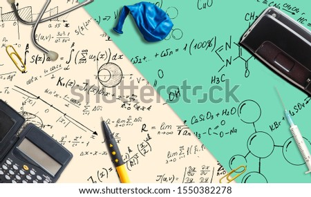 Math problems on graph paper with pencil ,formula arithmetic using for concept of World Maths Day.