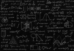 Mathematic, geometry, physic formula and symbol on black background.