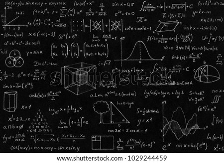 Mathematic, geometry, physic formula and symbol on black background.