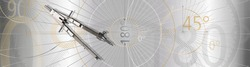 Mathematical circle calculation, geometry with compass and silver background