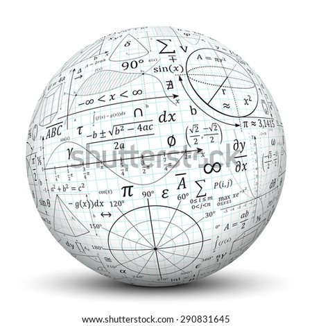 Mathematical vector formulary imprints on a white Sphere. Math, Education, Ball.