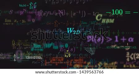 Mathematics and physics. 2d illustration. Set of mathematical algorithms on constant background. Symbols on dark surface.