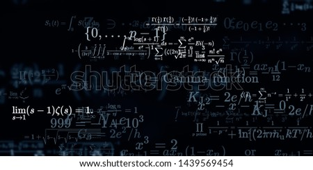 Mathematics and physics. 2d illustration. Set of mathematical algorithms on constant background. Symbols on dark surface.