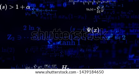 Mathematics and physics. 2d illustration. Set of mathematical formula on constant background.