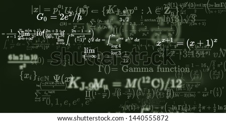 Mathematics and physics study. 2d illustration. Set of mathematical algorithms on constant background. Symbols on dark backdrop.