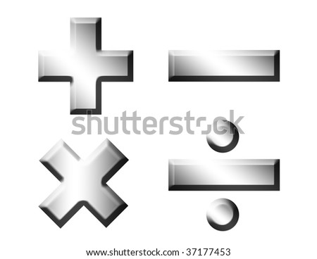 Mathematics chrome symbols over white background. Illustration
