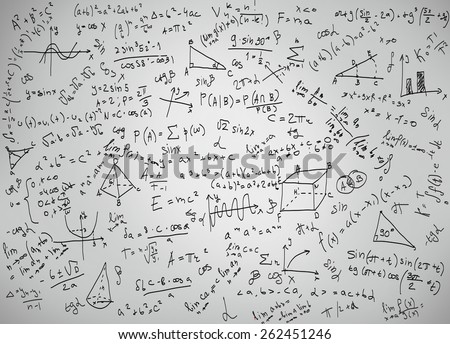 Mathematics equations and formulas on a white background