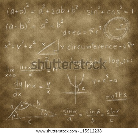mathematics formula writing on brown paper