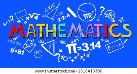Mathematics. Horizontal banner. Presentation, website. Isolated lettering typography idea with icons. Algebra, geometry, statistics, basic maths.  illustration Foto stock ©
