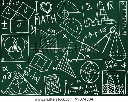 Mathematics icons and formulas on the school board - illustration
