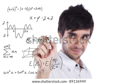 mathematics teacher writing formulas on the whiteboard (selective focus)