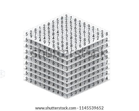 Mathematics tensor or multidimensional dataset array 3d illustration. Big data using in deep learning technology Foto stock ©