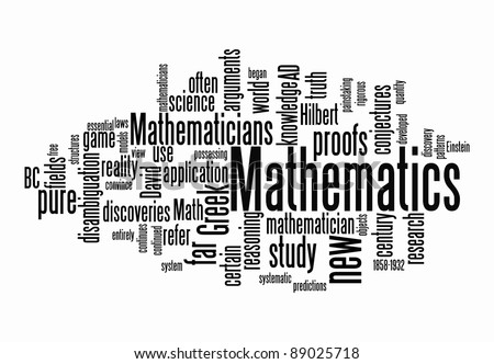 mathematics text clouds on isolated background