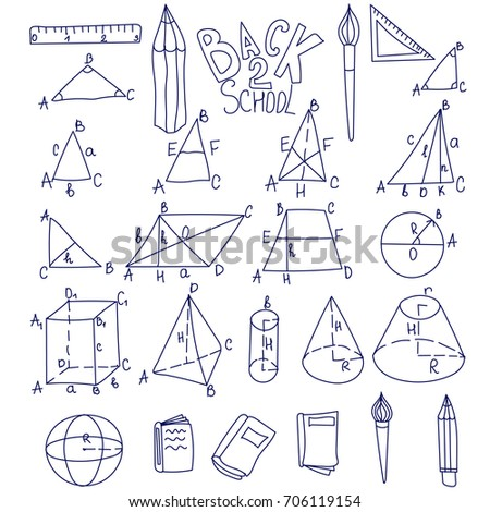 Mathematics, trigonometry, algebra geometric shapes doodles with letters. Isolated  illustrations on white background. Education school linear icons. Thin line set. Cube, triangle, cone, sphere