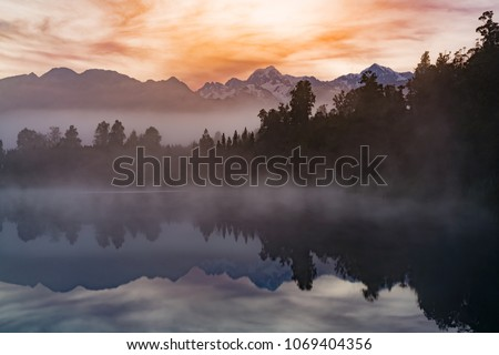 Matheson water reflection lake with Mt.Cook background, New Zealand natural landscape #1069404356