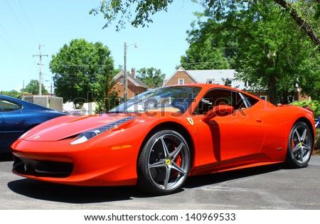 "MATHEWS, VA- JUNE 01: Ferrari 458 Italia left side in the Annual: Vintage TV's ""Chasing Pavement Vintage Automotive Festival"" in Mathews, Virginia on June 01, 2013"