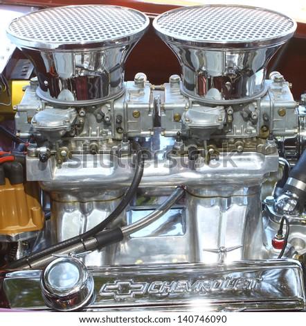 MATHEWS, VA- JUNE 01:V-8 Vega GT motor view in the Annual: Vintage TV\'s \