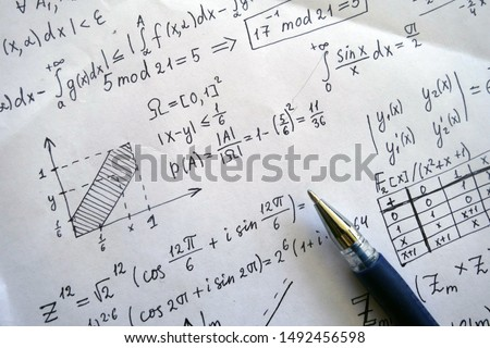 Maths concept - pen over a sheet of paper with maths-formulas. Complex analysis,  abstract algebra. Probability theory, meeting probability.