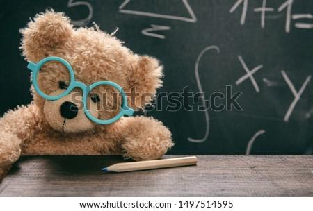 Maths lesson test concept. Smart kid in school class, cute teddy wearing blue eyeglasses and math symbols on blackboard