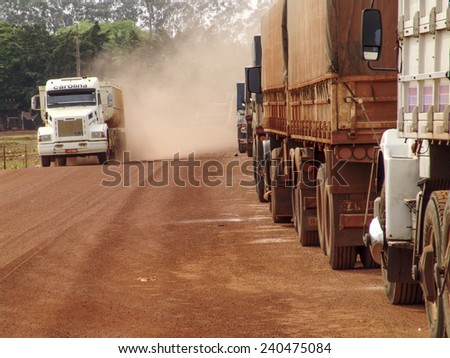 Mato Grosso Brazil, October 01, 2004: Truck stopped in row on a rural road