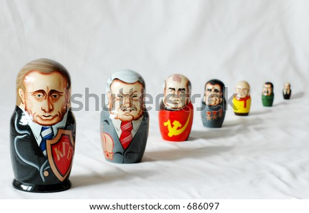 matrioshkas of Putin and former rulers of Russia
