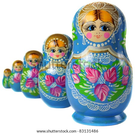 Matrioska Russian Doll, side by side - stock photo