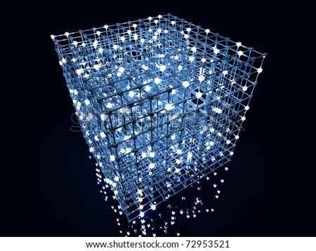 Matrix. 3D rendered Illustration. A glowing grid.