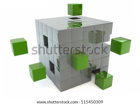 Matrix of green and silver cubes