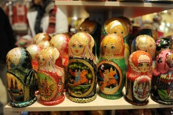 Matryoshka dolls are a set of wooden dolls of decreasing size placed one inside another