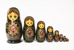 Matryoshka Dolls isolated on a white background. Russian Wooden Souvenir. Stacking dolls.